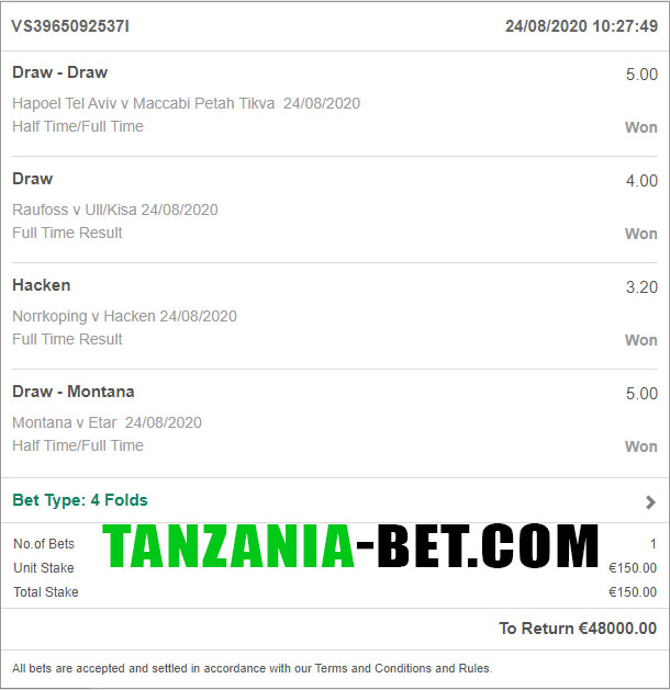 tanzania soccer fixed game 1x2